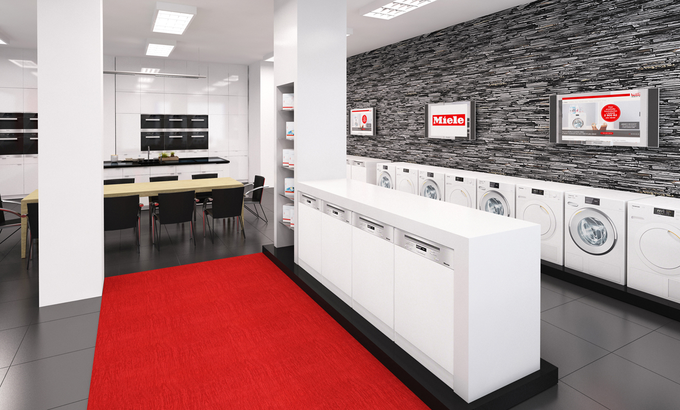 3D vizualizace interiéru prodejny Miele Olomouc