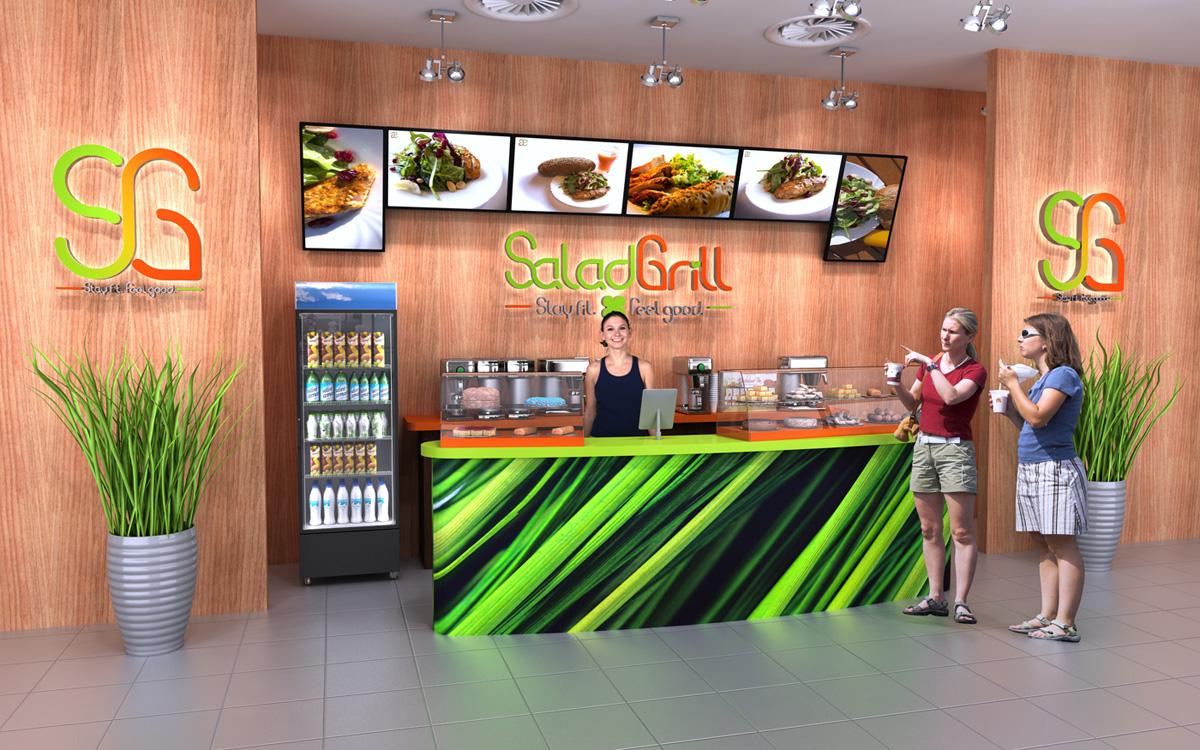 3D vizualizace obchodních prostor Salad Grill