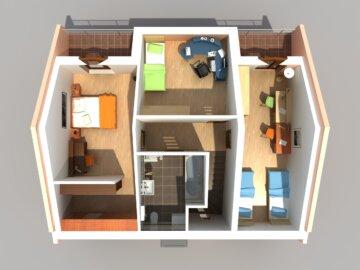 Vizualizace dispozice řadového rodinného domu