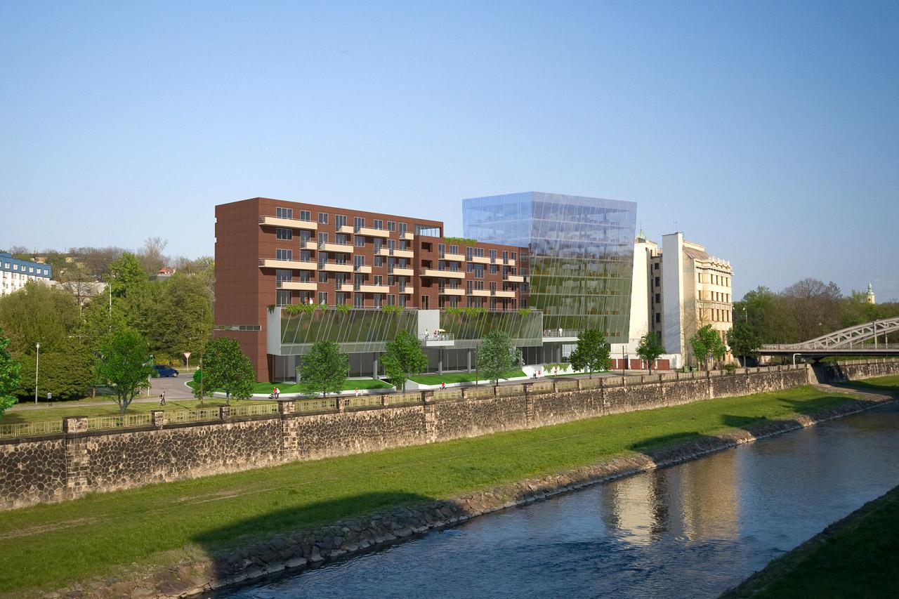 Vizualizace architektonické studie Seidlerova nábřeží vOstravě