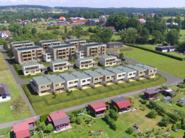 3D vizualizace bytových domů developerského projektu Byty Frýdek - letecký záběr z dronu.