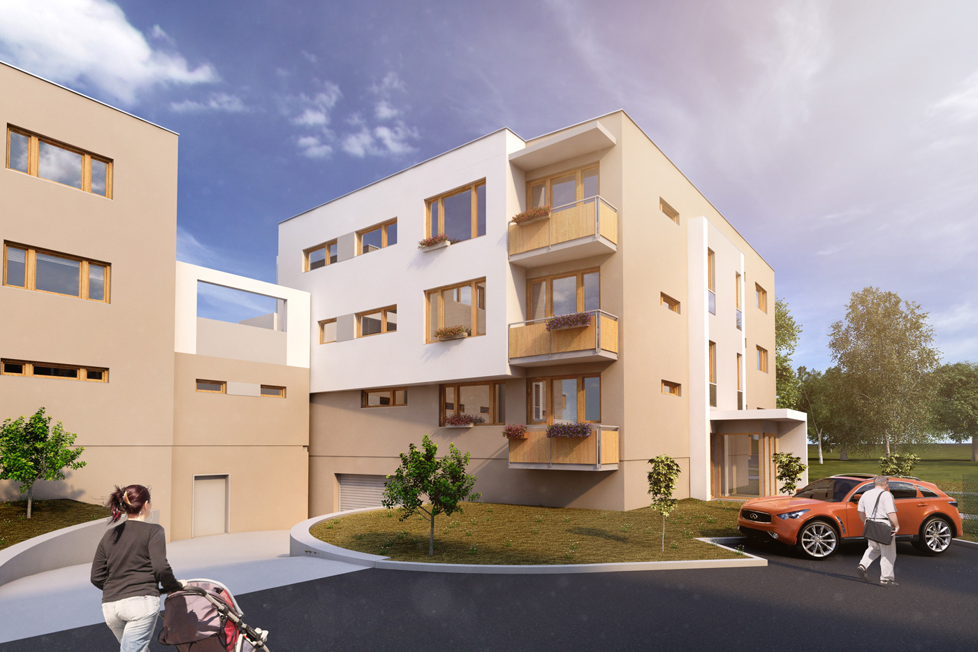 3D vizualizace bytových domů projektu Byty Frýdek Místek