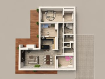 Vizualizace typového interiéru rodinného domu
