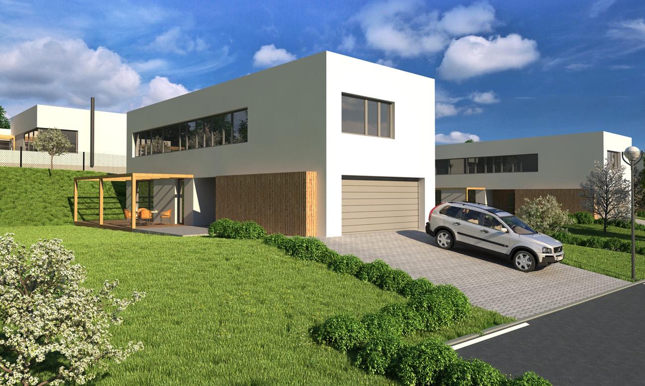 Vizualizace developerského projektu Zelený vršek – luxusní nízkoenergetické rodinné domy vOstravě Lhotce
