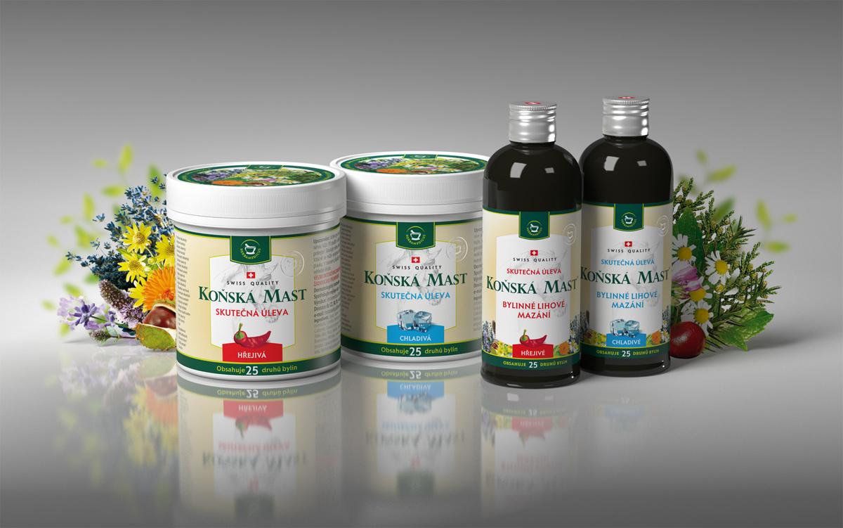 Vizualizace produktové řady Herbamedicus (Koňská mast, Dermorevital, Celulitis)
